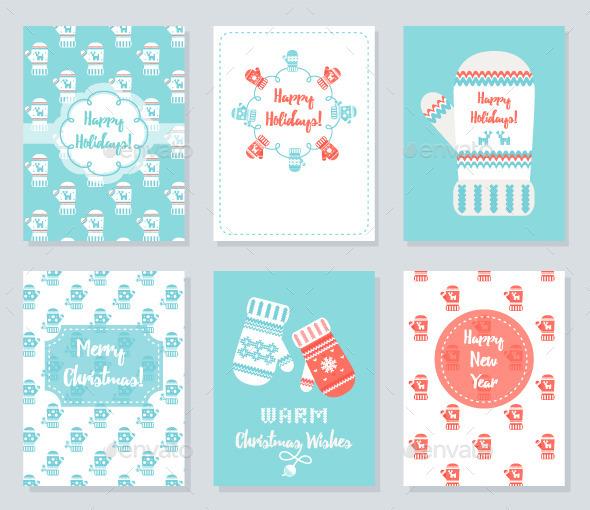 Christmas and New Year Greeting Cards Set - Christmas Seasons/Holidays