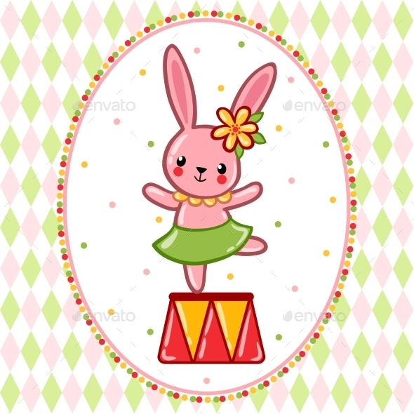 Circus Rabbit On a Pedestal. - Decorative Symbols Decorative