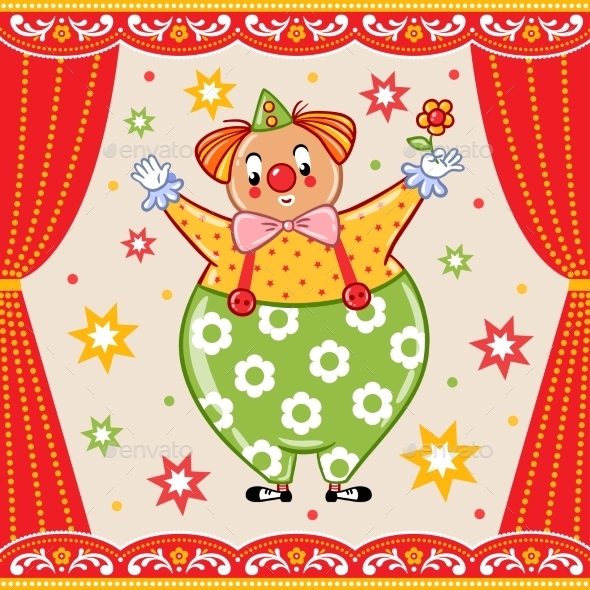 Card, Poster Or Invitation With a Circus Clown. - Flowers & Plants Nature
