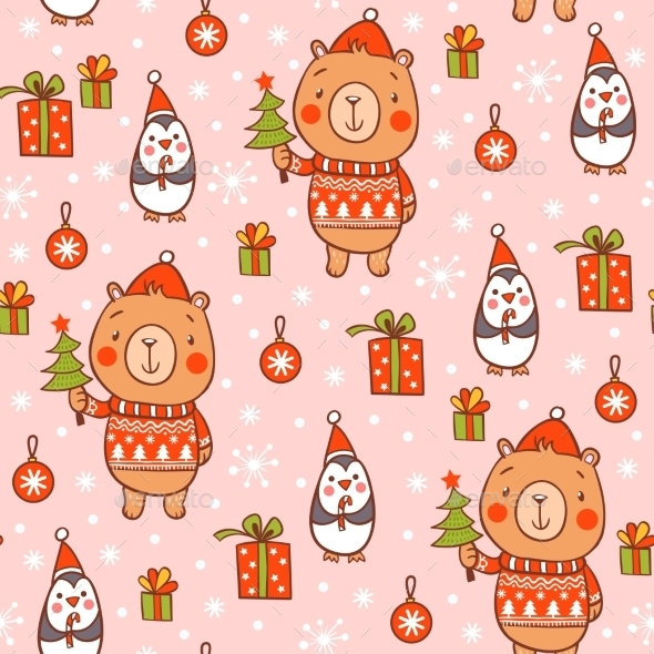 Cartoon New Year Texture - Christmas Seasons/Holidays