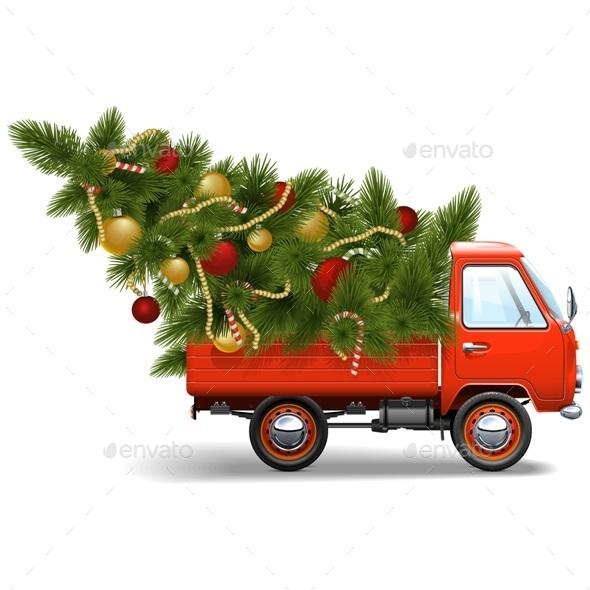Red Christmas Truck - Christmas Seasons/Holidays