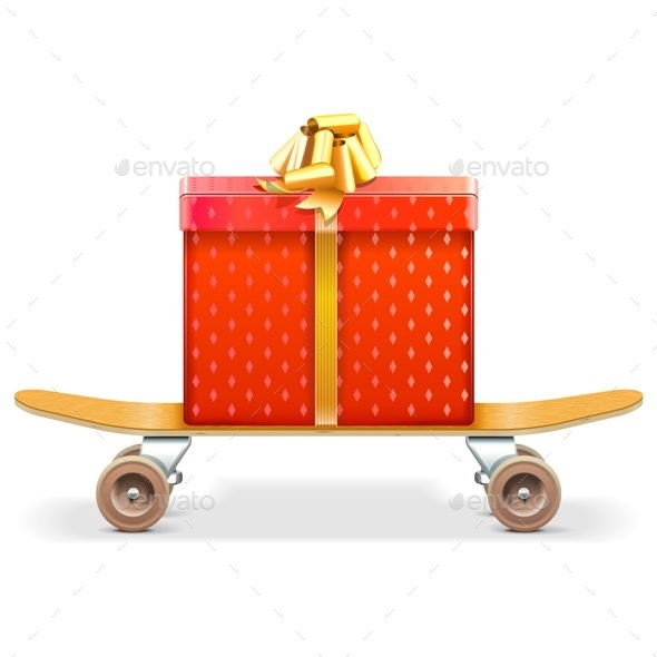 Skateboard with Gift - Miscellaneous Seasons/Holidays