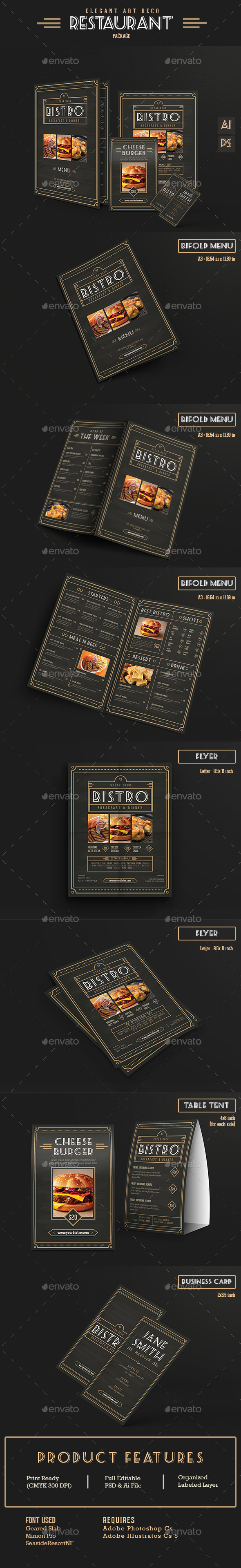 Elegant Restaurant Package - Food Menus Print Templates