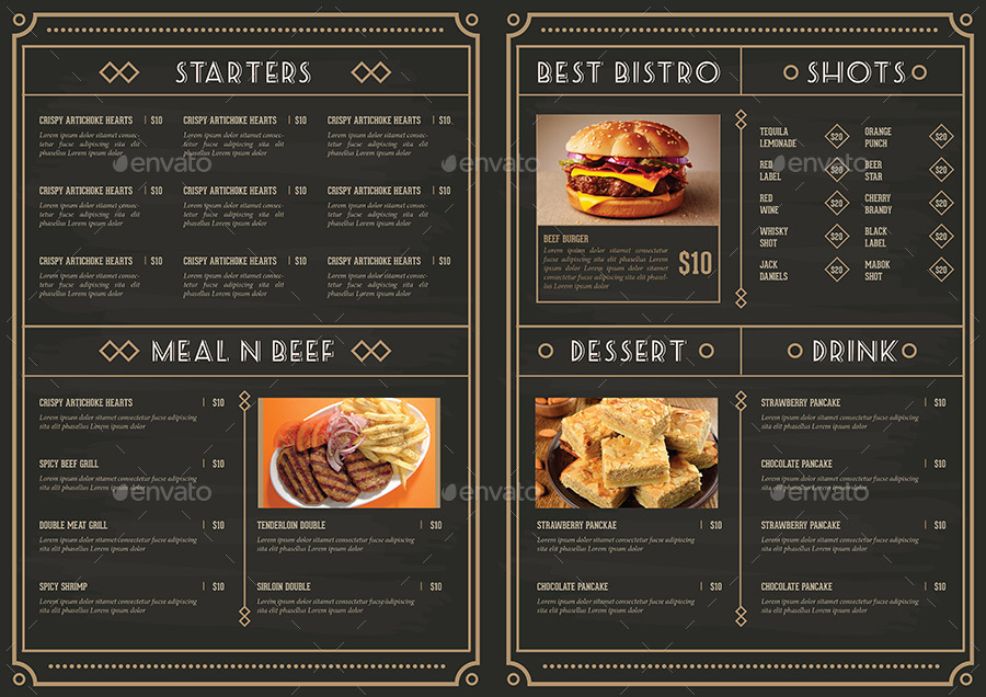 Elegant restaurant package by guuver graphicriver for Artistic cuisine menu