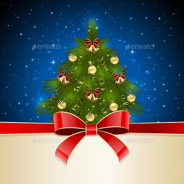 Christmas Tree with Red Bow - Christmas Seasons/Holidays