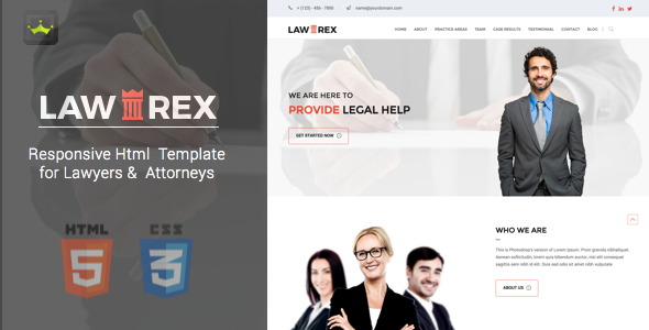 Lawrex Responsive Template for Lawyers & Attorneys - Business Corporate