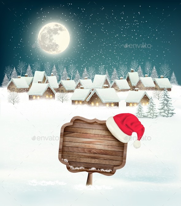 Winter Village Night Background with Wooden Sign - Christmas Seasons/Holidays