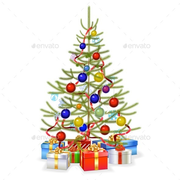 Christmas Fir with Gifts - Christmas Seasons/Holidays
