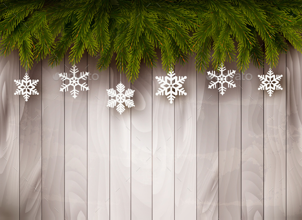 Background with Christmas Tree Branches - Christmas Seasons/Holidays