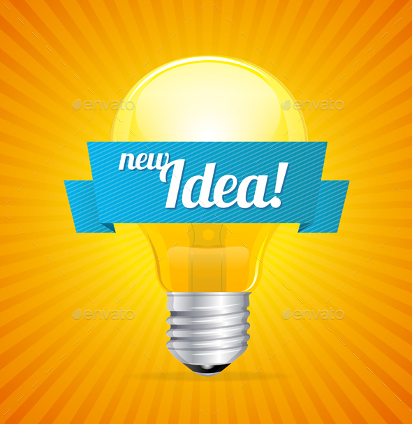 Bulb with Idea Concept and Sunlight Background - Miscellaneous Conceptual
