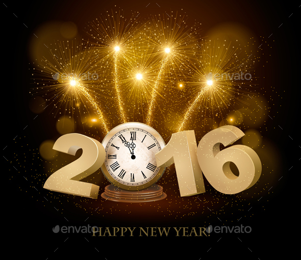 Happy New Year Background with 2016 and Clock - New Year Seasons/Holidays