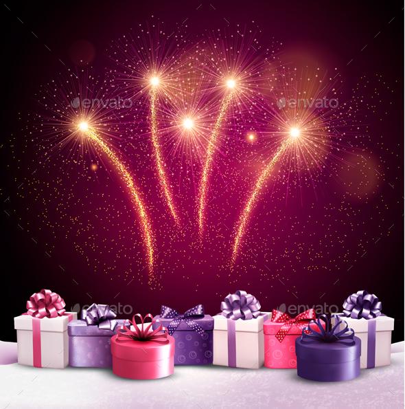Festive Background with Freworks - Christmas Seasons/Holidays