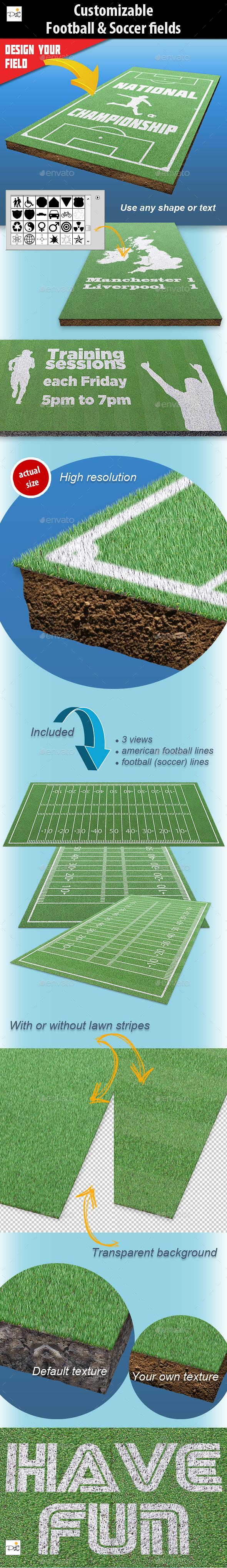 Customizable football & soccer fields - Miscellaneous Print
