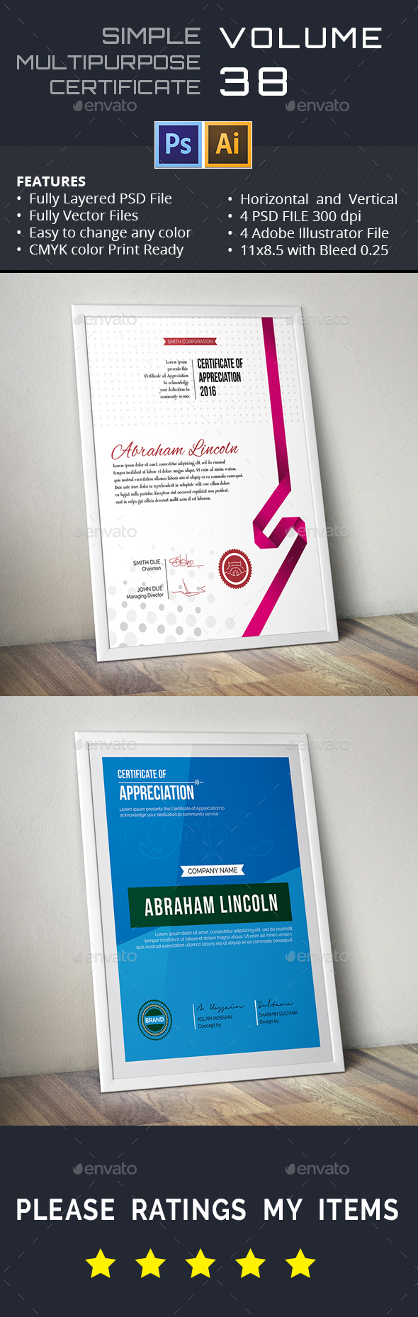 Easy Simple Multipurpose Certificate GD038 - Certificates Stationery