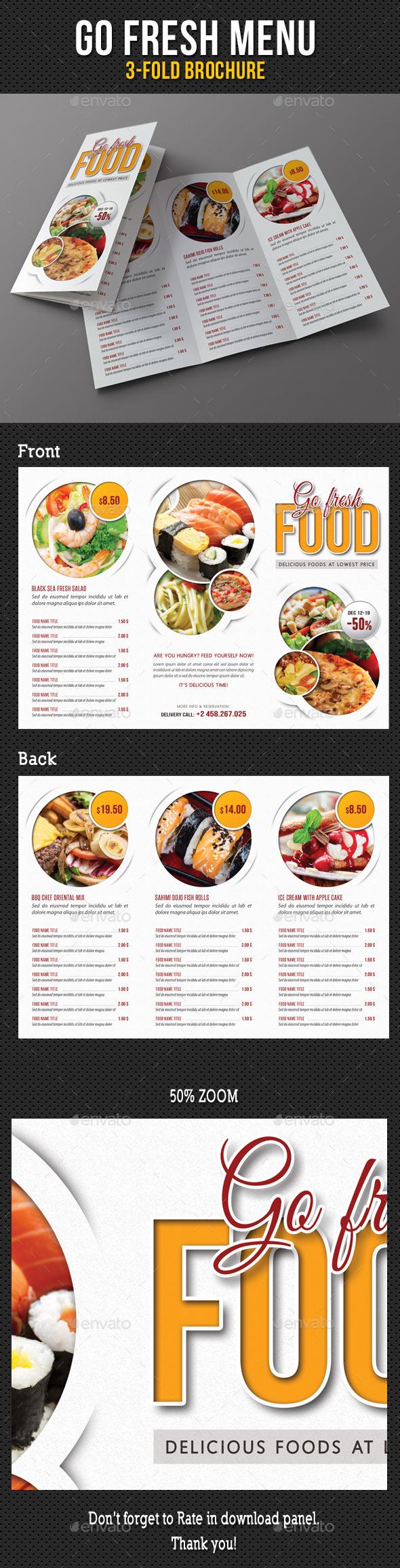 Go Fresh Restaurant Menu 3-Fold Brochure - Food Menus Print Templates