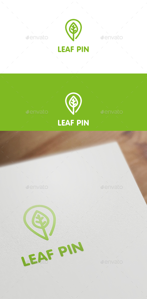 Leaf Pin - Nature Logo Templates