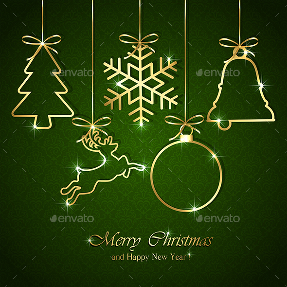 Christmas Elements on Seamless Green Background - Christmas Seasons/Holidays