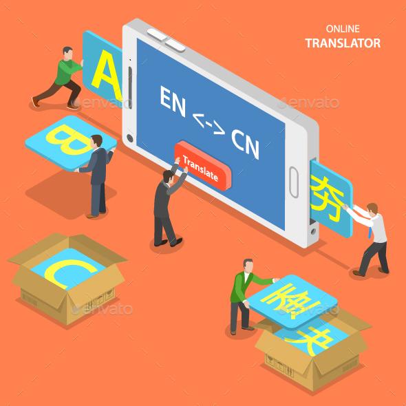 Online Translator Isometric Flat Vector Concept.  - Communications Technology