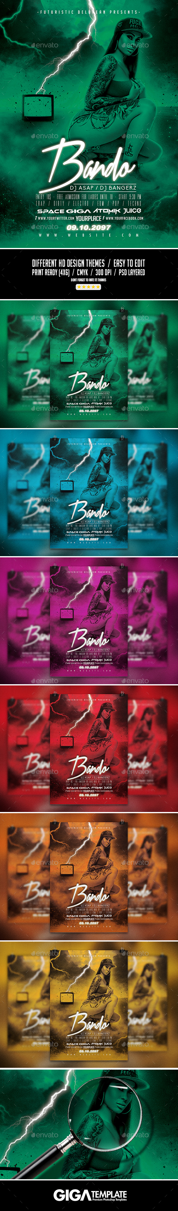 Bando 3 | Futuristic Dark Movie Flyer PSD Template - Events Flyers