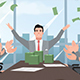 Cartoon Corporate Happy Businessman Throwing Money - VideoHive Item for Sale