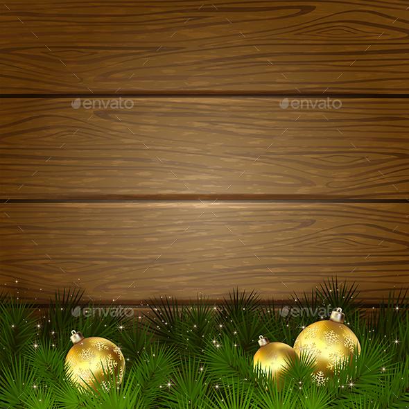 Christmas Tree and Balls on Wooden Background - Christmas Seasons/Holidays