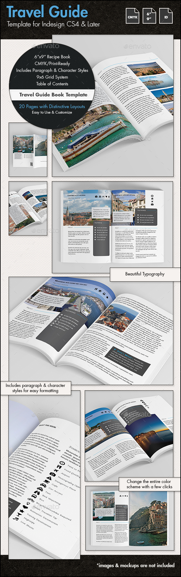 Travel Guide Template - 6x9in - Catalogs Brochures