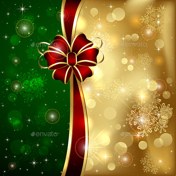 Bow on Golden Background - Christmas Seasons/Holidays