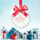 Merry Christmas Card with a Ribbon and Gift Boxes  - GraphicRiver Item for Sale