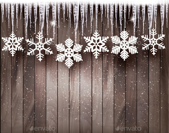 Christmas Background With Snowflakes - Christmas Seasons/Holidays