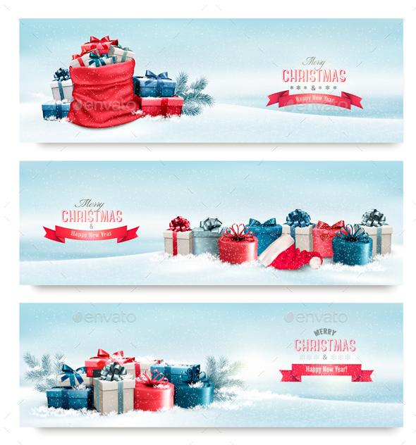 Holiday Christmas Banners With Presents - Christmas Seasons/Holidays