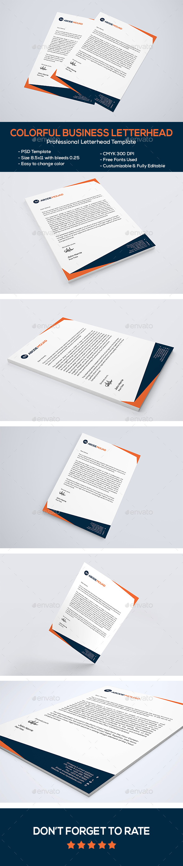 Colorful Business Letterhead - Stationery Print Templates