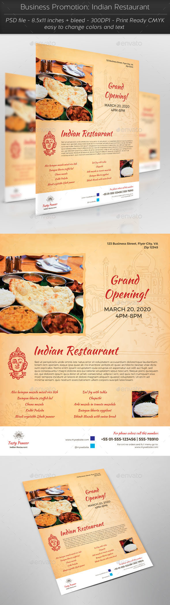 Business Promotion: Indian Restaurant - Restaurant Flyers