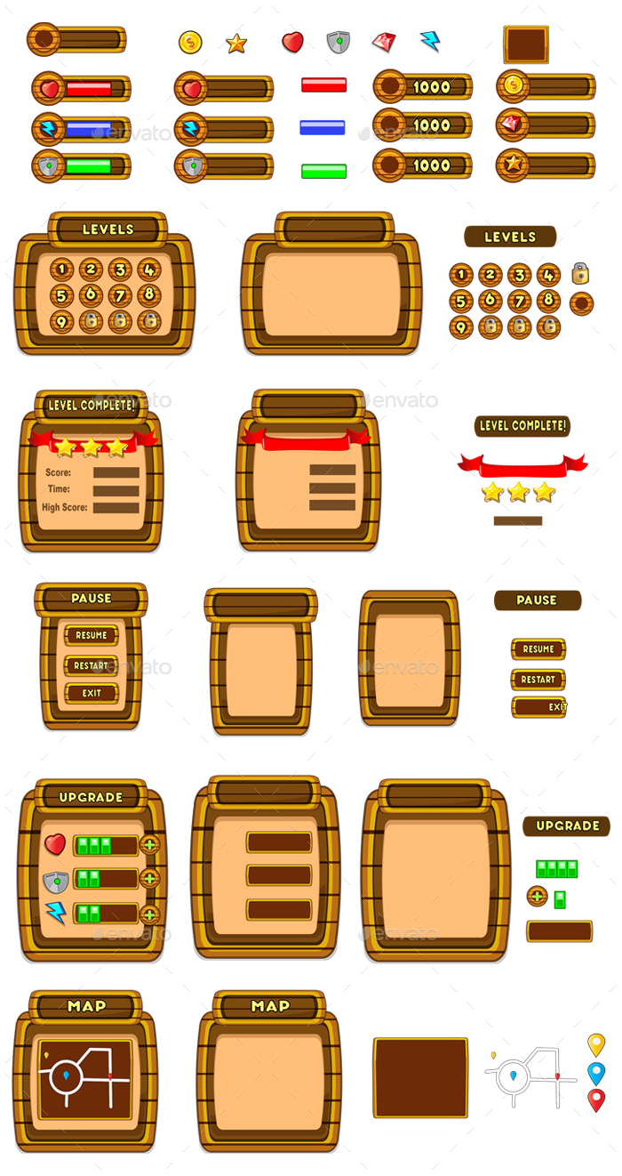 Wooden Cartoon Game Ui Pack 03 By Pasilan Graphicriver