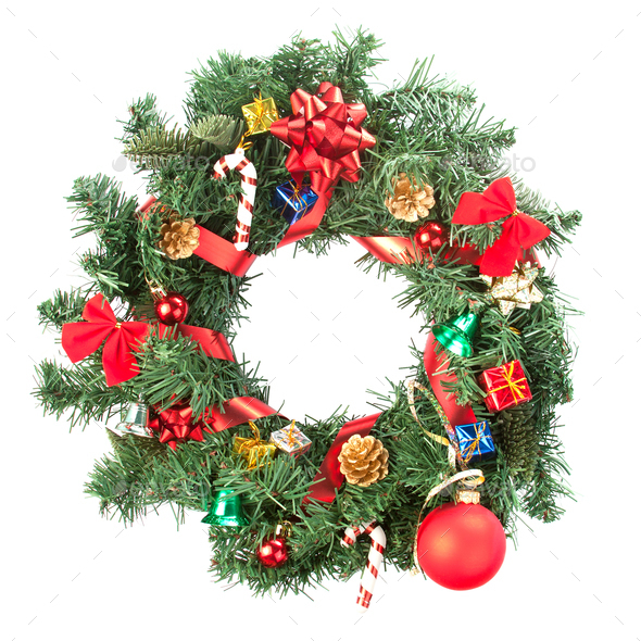Christmas wreath with ornaments - Stock Photo - Images