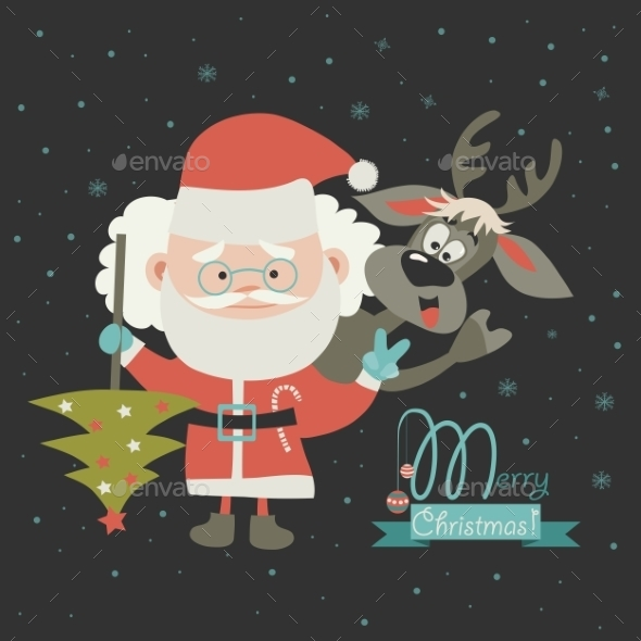 Funny Santa Claus With Reindeer - Christmas Seasons/Holidays