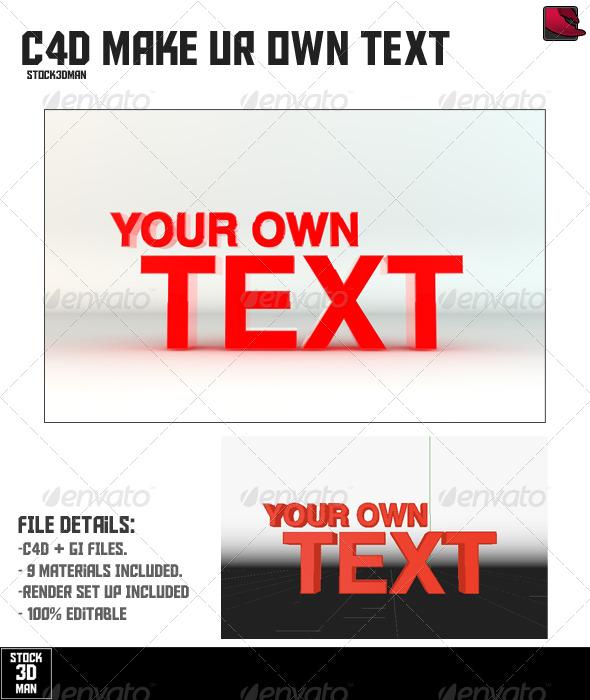 Make you own Cinema 4D Text - Mock Up - 3DOcean Item for Sale