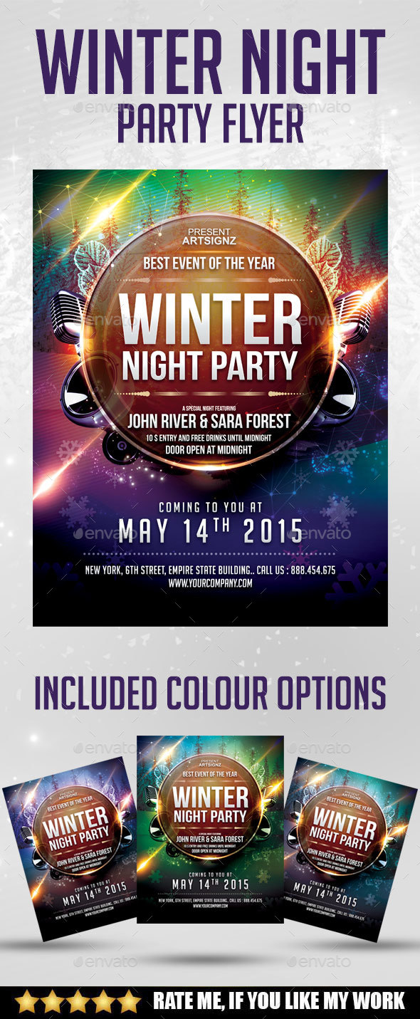 Winter Night party flyer - Print Templates