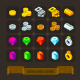 Fantasy Game Icons Set: Gems And Coins.