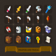 Fantasy Game Icons Set: Weapon, Armor, Tools. - GraphicRiver Item for Sale
