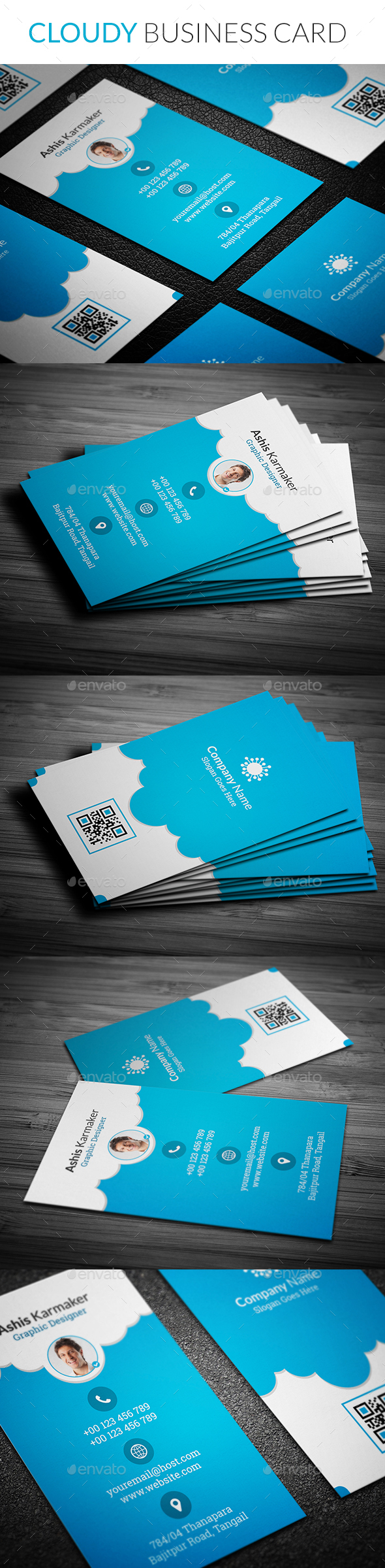 Cloudy Business Card - Business Cards Print Templates