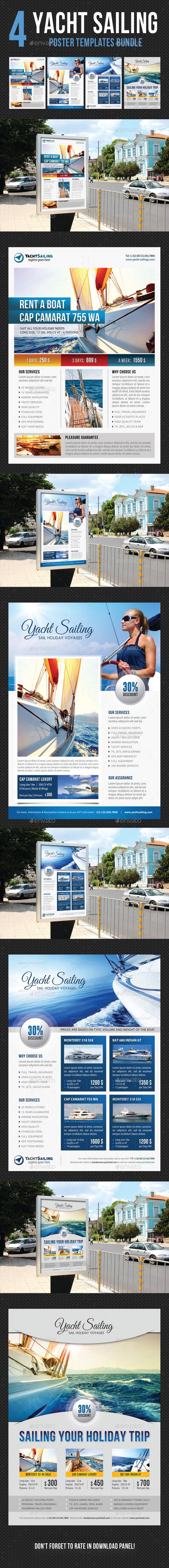 4 Yacht Sailing Poster Templates Bundle 03 - Signage Print Templates