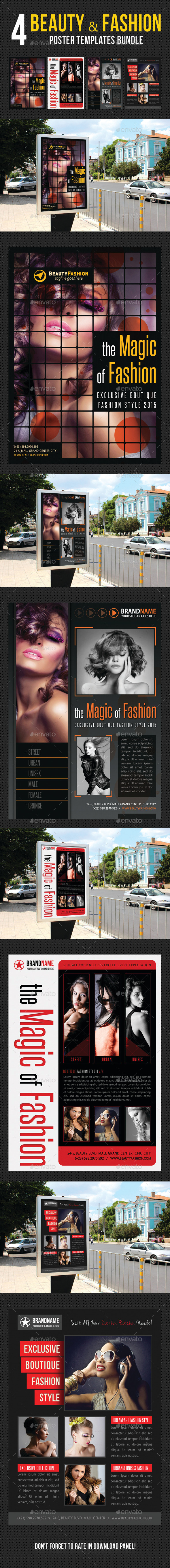 4 in 1 Beauty and Fashion Poster Bundle 02 - Signage Print Templates
