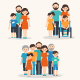 Families of Different Types. Flat Illustration - GraphicRiver Item for Sale