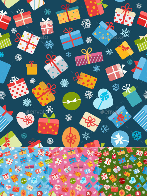 Seamless Patterns Of Gift Boxes - Seasons/Holidays Conceptual