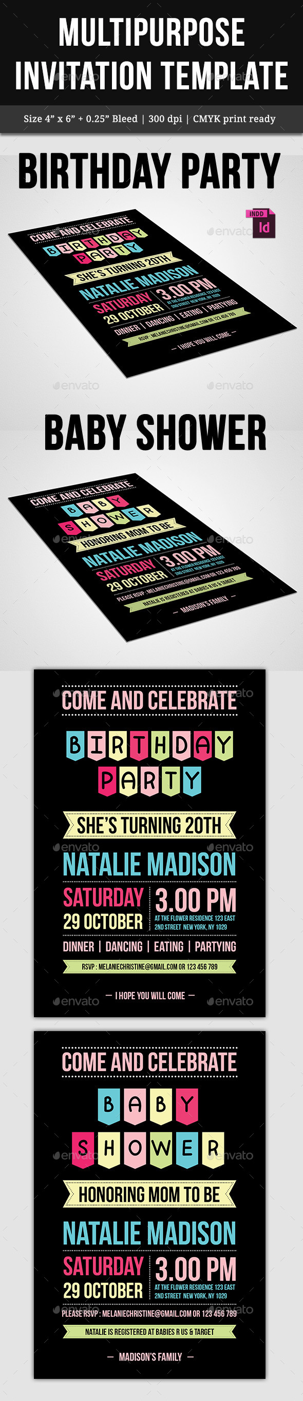 Multipurpose Invitation Template - Cards & Invites Print Templates