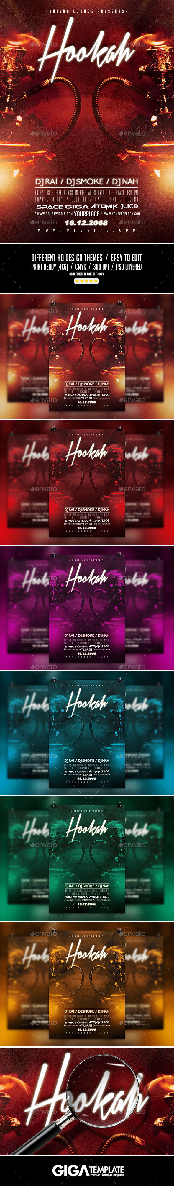 Hookah Lounge | Chic Shisha PSD Flyer Template - Events Flyers