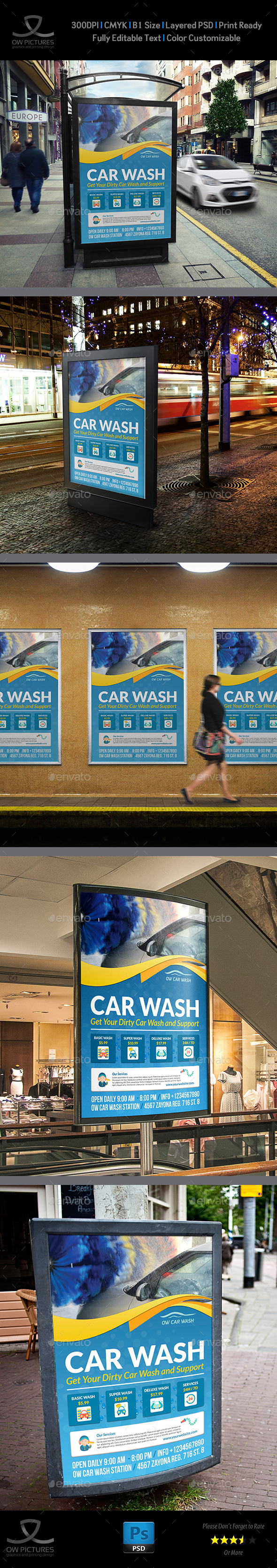 Car Wash Services Poster Template - Signage Print Templates