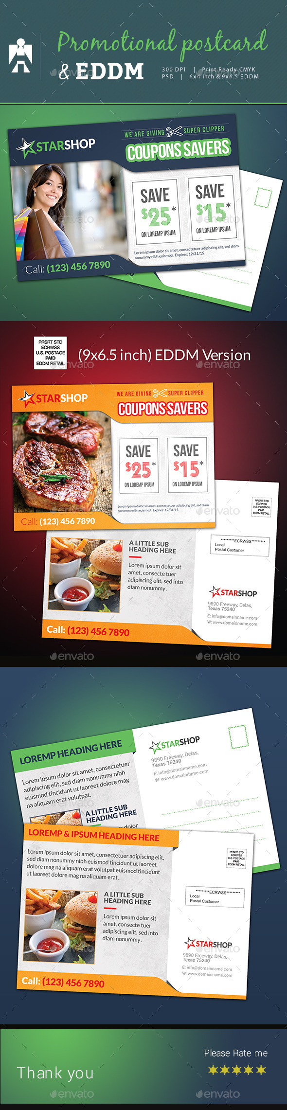 Coupon Code Postcard and Every Door Direct Mail EDDM  - Cards & Invites Print Templates