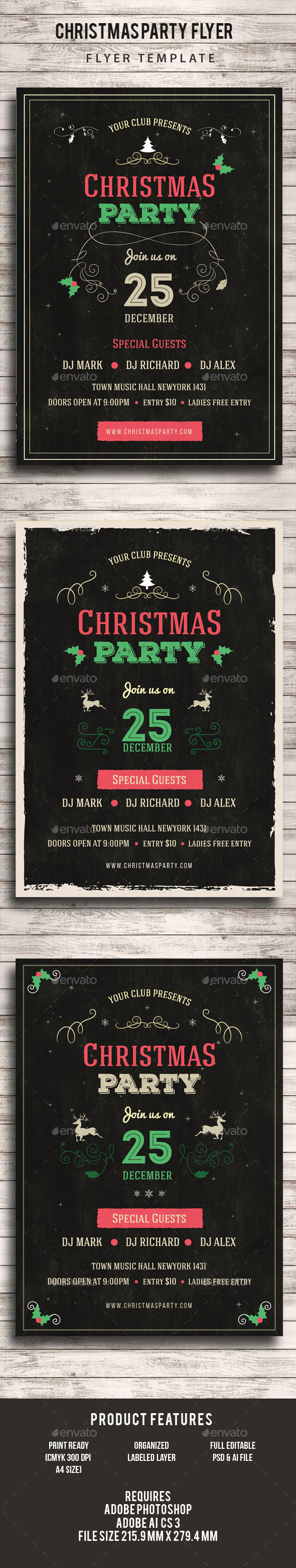 Christmas Party Chalkboard Flyer - Events Flyers