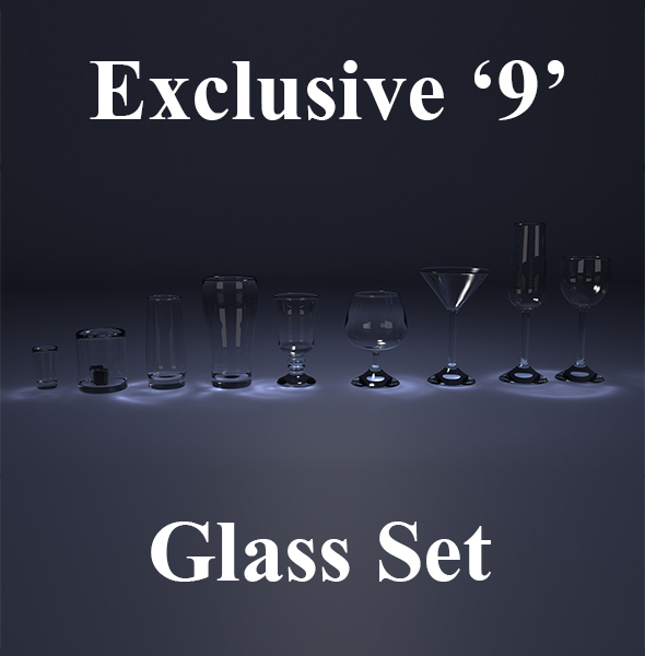 9 Glass Set - 3DOcean Item for Sale